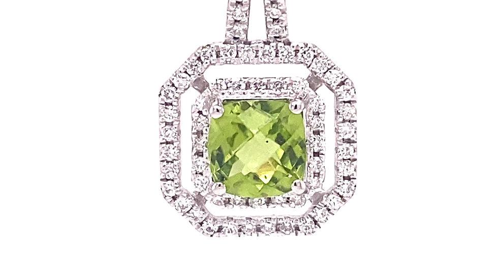 Peridot & Diamond Double Halo Pendant