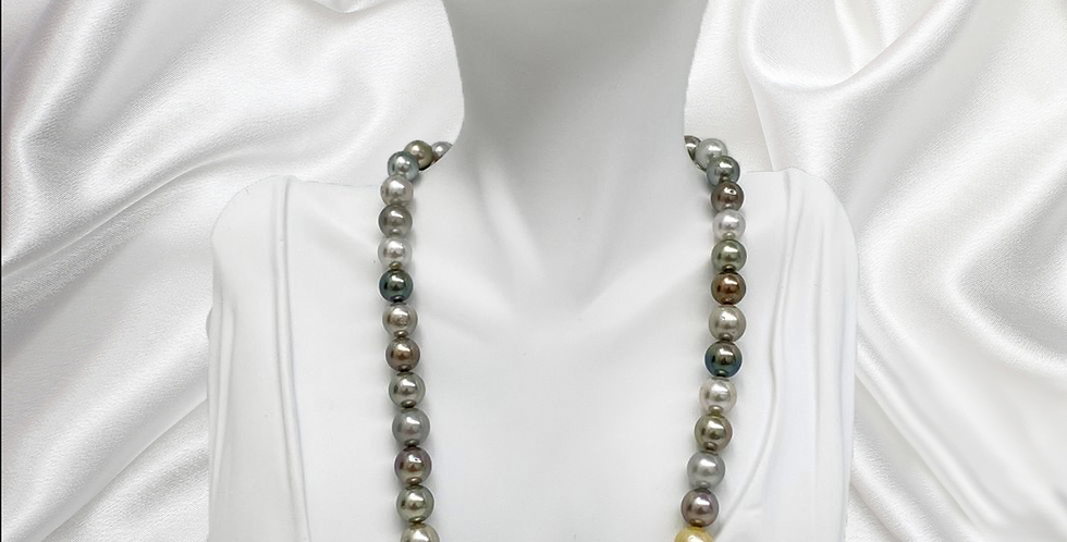 Tahitian Silver Multicolor Round/Near-Round Pearl Necklace