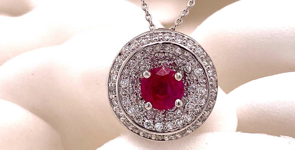 Ruby & Diamond Circular Pendant