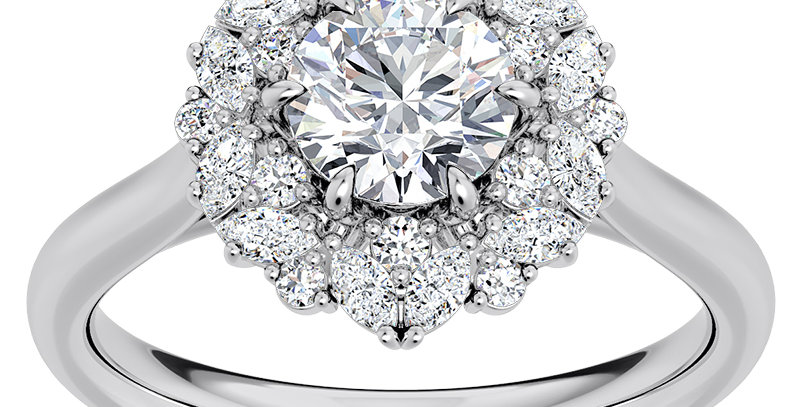 Royal Crown Halo Diamond Engagement Ring