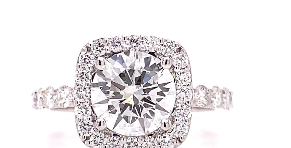 Cushion Shaped Halo Diamond Engagement Ring