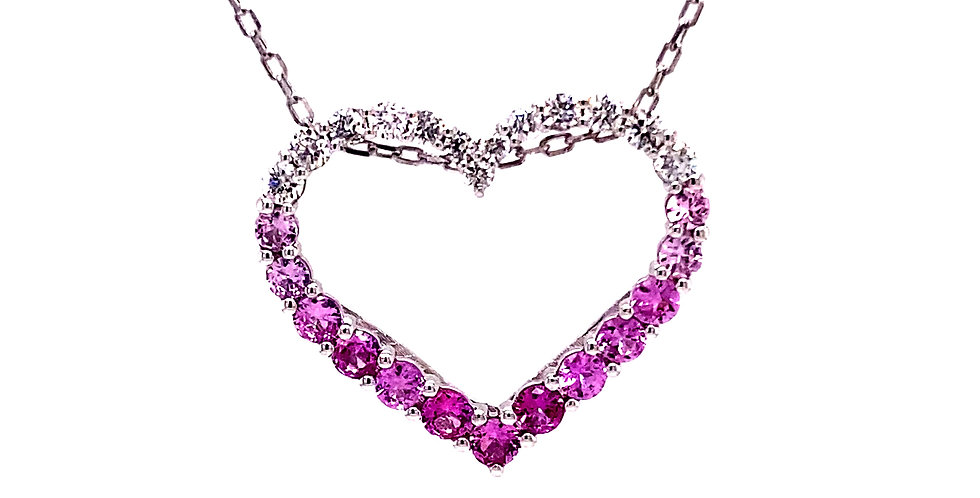 Ombre Pink Sapphire & Diamond Heart Pendant