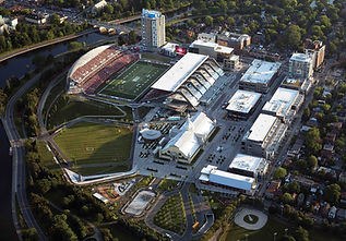 Lansdowne Park airial view,showing the entire redeveloped stadium retail and commercial area and publc park near the Rideau Caal