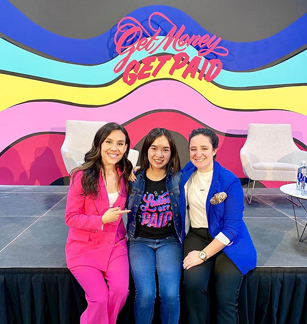 Jamie Shum with Ladies Get Paid Co-Founders Claire Wasserman [left] and Ashley Louise [right] at the 2019 Get Money Get Paid Conference.