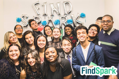 Group picture with FindSpark's team members, community members, and employer partners at FindSpark's 2017 Anniversary Bash in NYC.