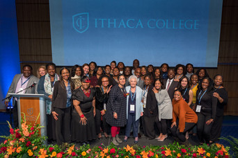 Group picture with Ithaca College's President Shirley M. Collado and IC alumni at the IC Alumni Awards Dinner (part of Ithaca College Alumni Weekend) on Saturday, October 12, 2019.