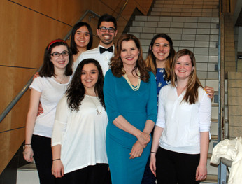 """Group picture with Academy Award-winning actress and activist Geena Davis in preparation for Ithaca College's Park Distinguished Visitor event, """"Gender Equality in The Modern Media"""" on March 31, 2015."""