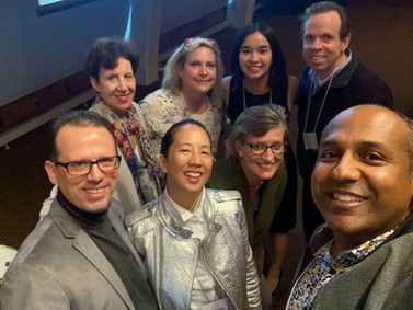 """Jamie Shum (2nd right in 2nd row) with Sree Sreenivasan (far right on 1st row), Marshall R. Loeb Visiting Professor Of Digital Innovation at Stony Brook University Journalism School and ex-Chief Digital Officer at City of New York, Columbia University, and the Metropolitan Museum of Art, and members of Sree's Advanced Social Media Group (join us here: https://www.facebook.com/groups/sreeadvanced/) at the 2019 PRSA Tri-State Conference: """"Plugging Into Social Good"""" on Wednesday, October 16, 2019."""