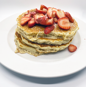 Full Stack Pncakes w/ Strawberry Topping