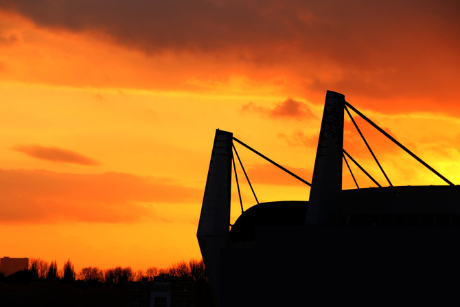 Sunset over the Philips Stadium