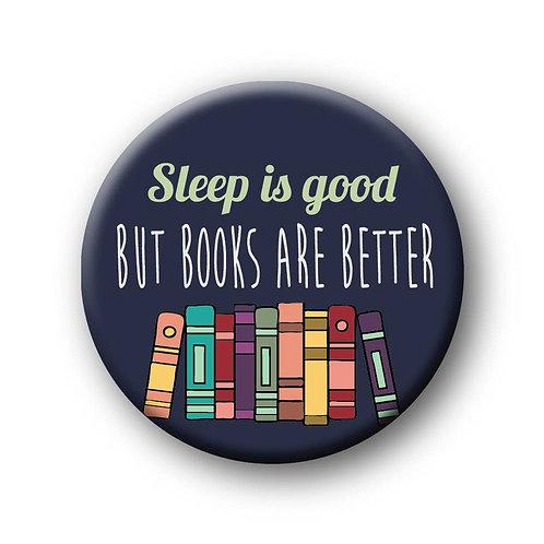 Books Over Sleep Button Pin