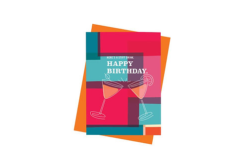 Here's a Stiff Drink Happy Birthday Card - Pink