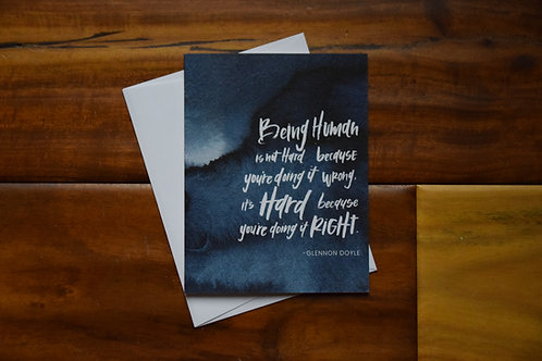 Glennon Doyle Being Human Quote Greeting Card