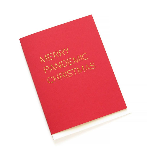MERRY PANDEMIC CHRISTMAS Hot Foil Gold Red Holiday Card