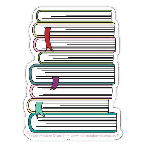 "Book Pile - 3"" vinyl sticker"