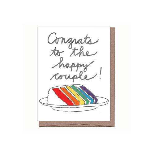 Rainbow Cake Wedding Card