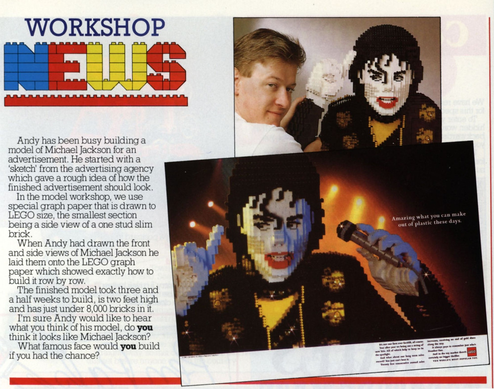 The article in Bricks 'n Pieces featured a photograph of the master builder behind LEGO Michael Jackson, as well as the proposed advertisement.