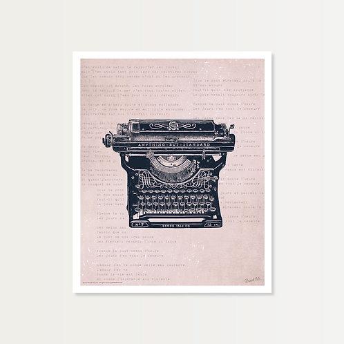 Antique Typewriter Art Print 14x17