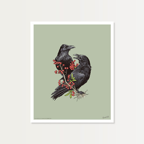 Ravens with Berries Art Print 14x17