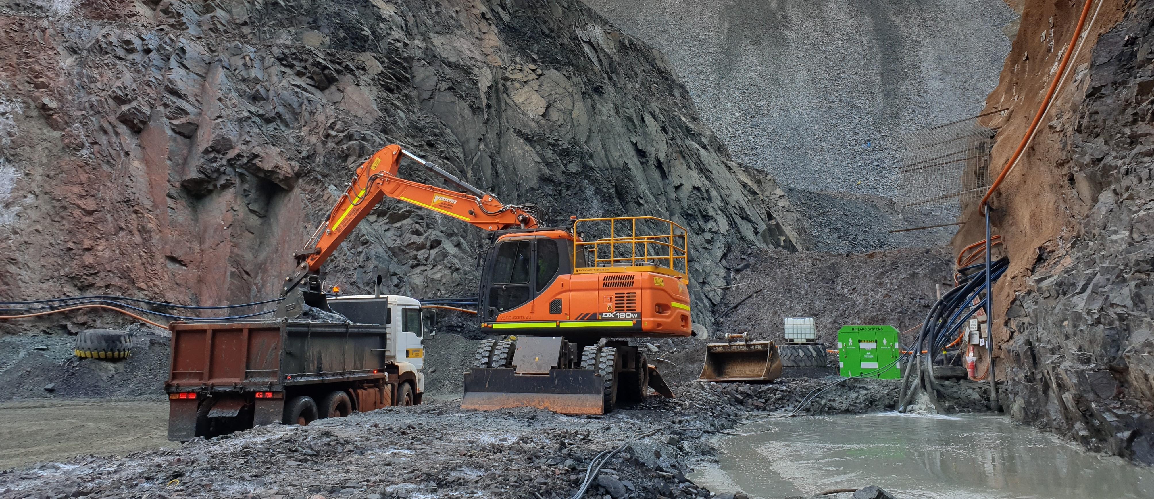 Excavator underground mining