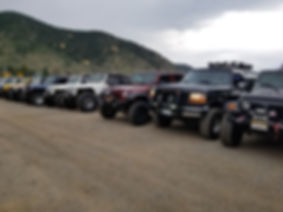 Jeeps and a lone Bronco