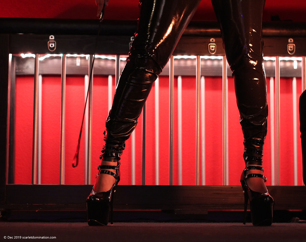 Domina in front of bondage bed.  Subject to copyright.  List of fetishes and kinks page
