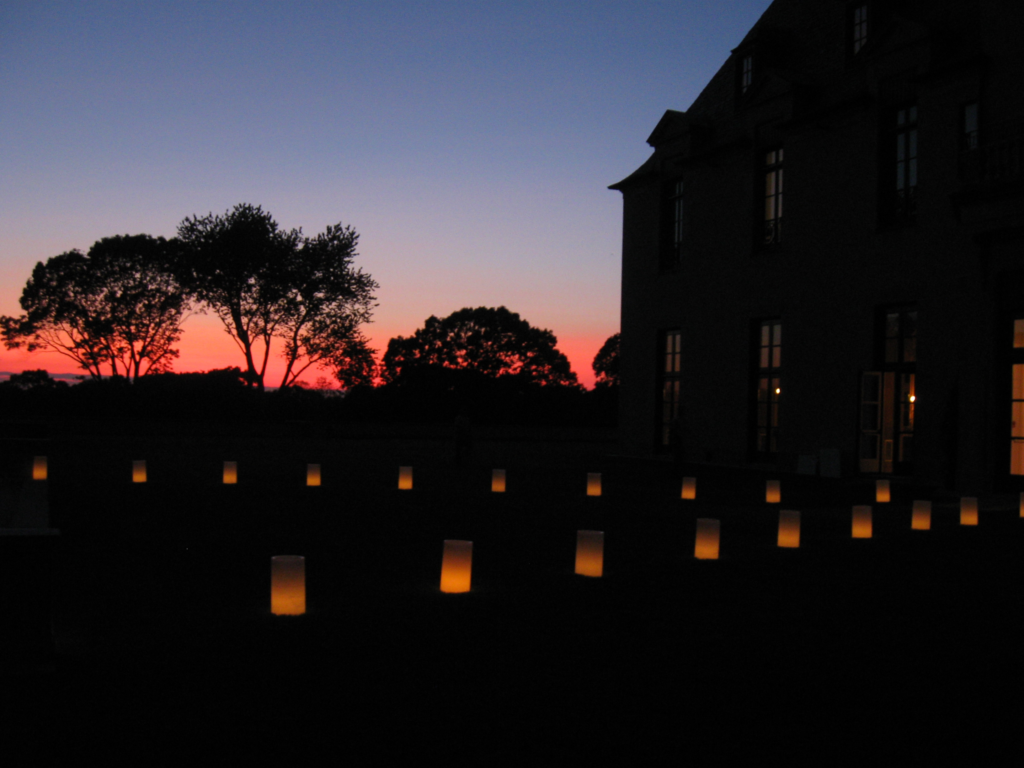 Candles at sunset