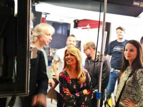 Behind the scenes, shooting a commercial with Sylvie Meis.