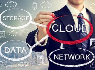 Cloud computing flowchart with businessm