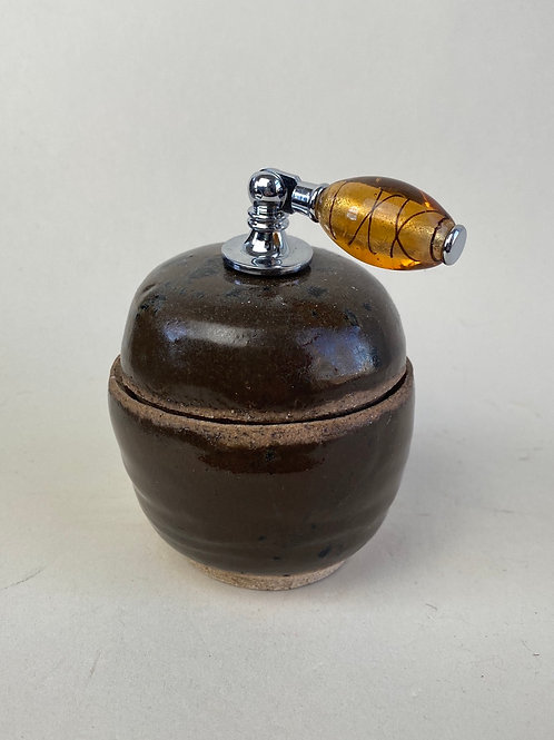 Knob jar with glass handle
