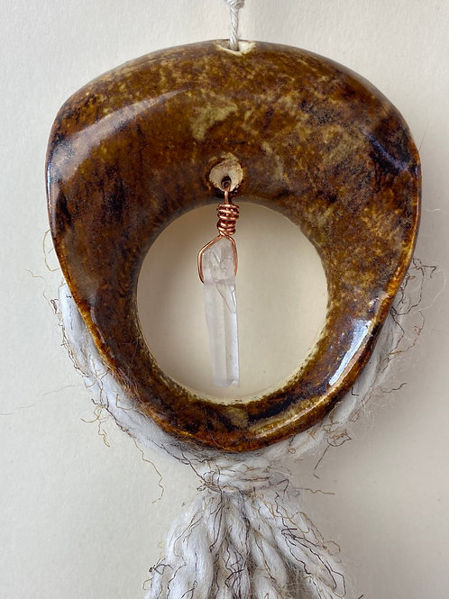 Mixed media ceramic hanging decor with yarn and crystal