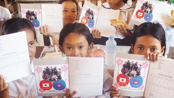 カンボジアボランティア活動にシール協賛