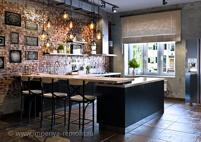 Дизайн кухни-столовой в стиле лофт