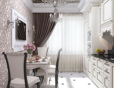Дизайн кухни-гостиная-столовой в стиле хай-тек
