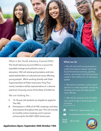 Youth Advisory Program Now Accepting Applications!