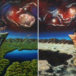 Minne vain tuuli tuivertaa I Any Way the Wind Blows  Acryl, spray and mixed media on canvas. 90 x 55,5 x 9cm for artwork, 2018