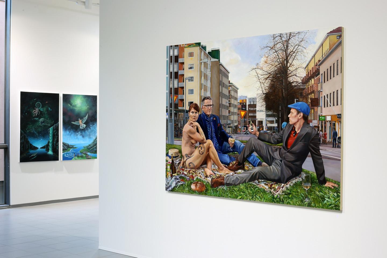 Anna-Liisa Kankaanmäki  Piknik ruohikolla / Picnic on the Grass  2020. Akryyli ja öljyväri kankaalle, 145 x 189 cm