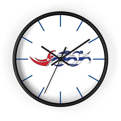 Cuba Swim Bike Run Triathlon Wall Clock Black Front View