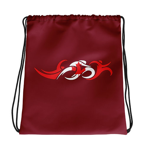 Canada Swim Bike Run Triathlon Drawstring Transition Bag