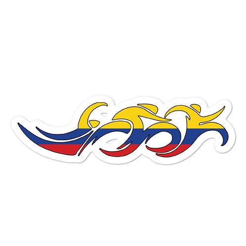 Colombia Swim Bike Run Triathlon Sticker