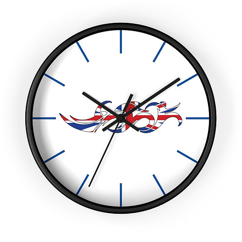 England Swim Bike Run Triathlon Wall Clock Black Front View