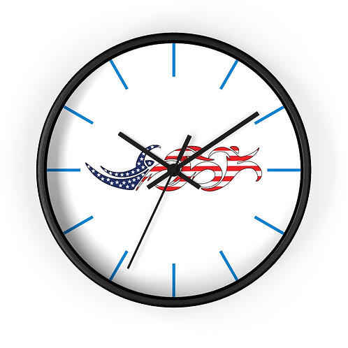 USA Swim Bike Run Triathlon Wall Clock Black Front View