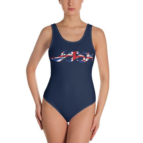 England Swim Bike Run Triathlon Woman Swimsuit Front View
