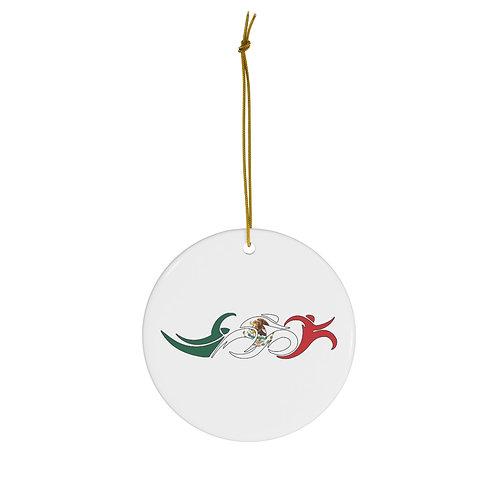 Mexico Swim Bike Run Triathlon Holiday Christmas Ornament Front View