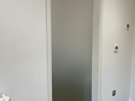 Sandblasted sliding glass door