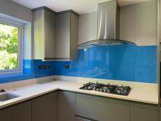 Painted glass splashback for kitchen