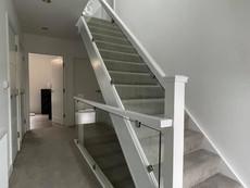 Glass balustrade panels for modern staircase