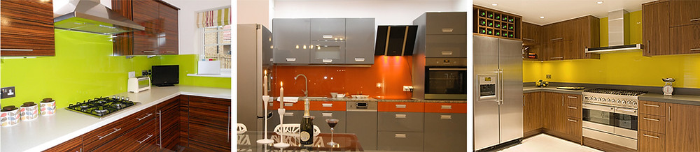 modern kitchens with painted glass splashbacks in lime, orange and yellow