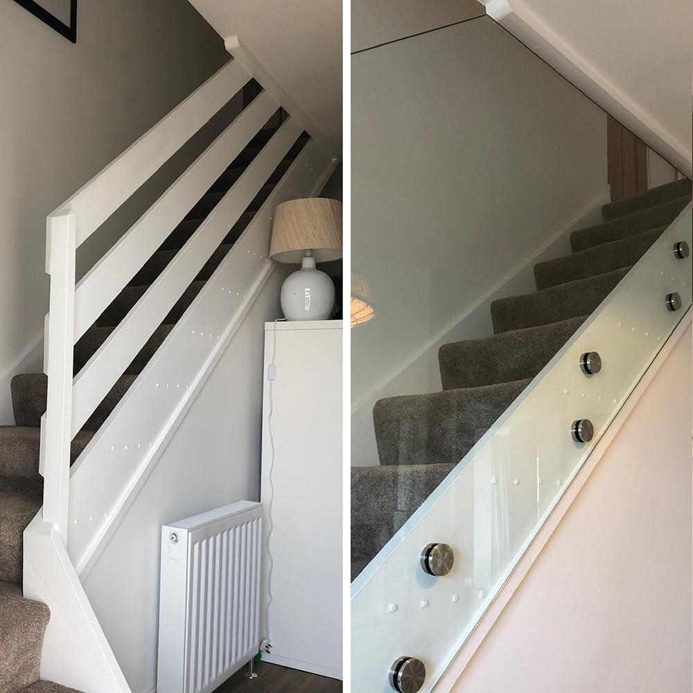 Before and after pictures of an old ranch-style staircase replaced with a frameless glass staircase balustrade