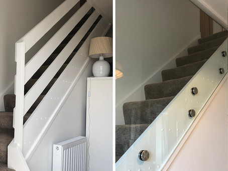 Glass balustrades for stairs: Before and after replacing ranch-style stairs with a modern solution